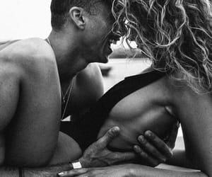 beach, black and white, and couples image