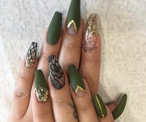art, green, and nail art image
