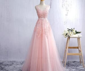 a-line prom dress, prom dress backless, and prom dress pink image
