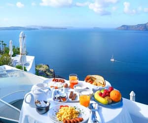 cafe, santorini, and travel image