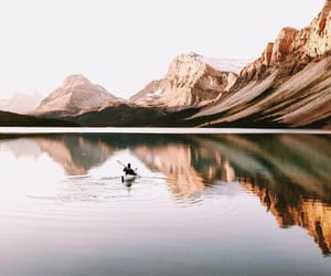 mountains, nature, and canoe image