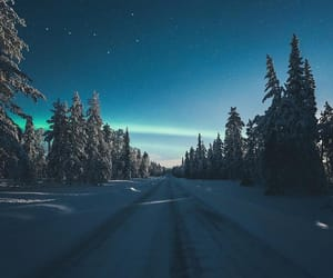 cold, northern lights, and snowy image