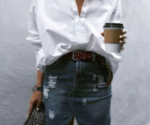 accessories, coffee, and jean skirt image