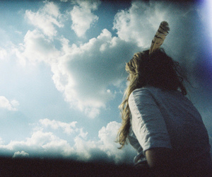girl, sky, and feather image