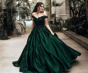 dress, green, and beauty image