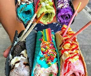 chocolate, ice cream, and rainbow image