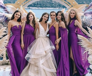 bride, bridesmaids, and place image
