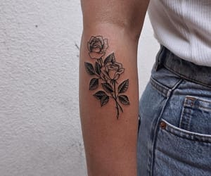 jean, rose, and tattoo image