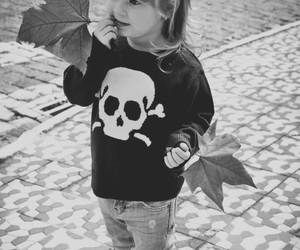 girl, skull, and child image
