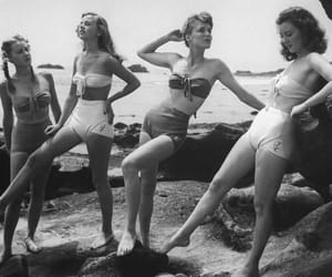beach, girls, and black and white image