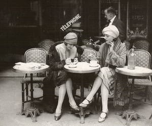 black and white, vintage, and cafe image