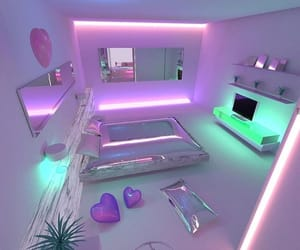 bedroom, neon, and pink image