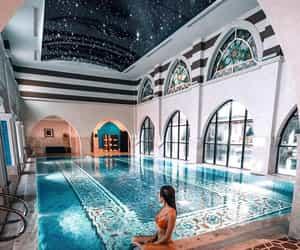 pool, girl, and luxury image