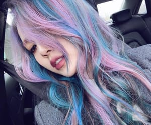asian girl, blue hair, and color hair image