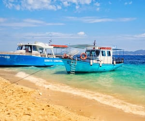 beach, blue, and boat image