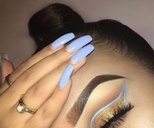 nails, makeup, and blue image