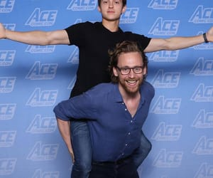 tom hiddleston, tom holland, and Marvel image