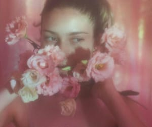 flowers, girl, and pink image