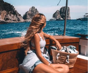 boat, girl, and travel image
