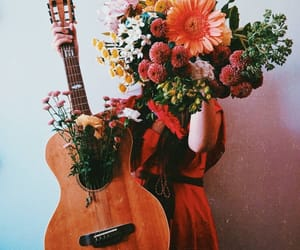 bloom, florals, and guitar image