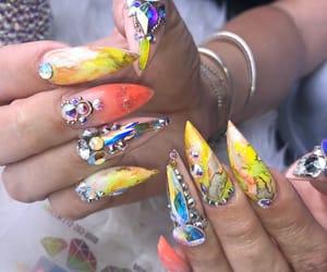 nail art, nails, and rhinestone image