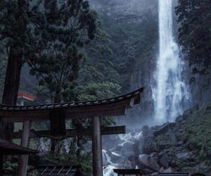 japan, nature, and waterfall image