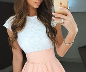 white homecoming dress, lace homecoming dress, and prom dress a-line image