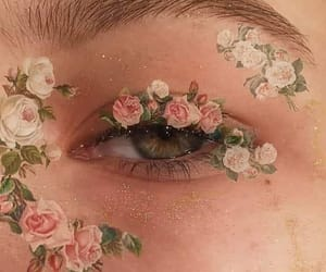 eye, flowers, and pink image