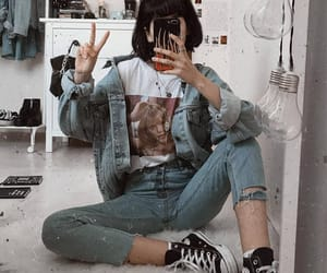 baggy, denim jacket, and jeans image