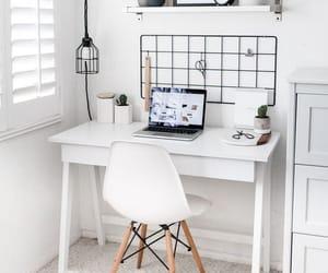 design, white, and desk image