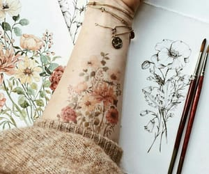 flowers, painting, and tattoo image