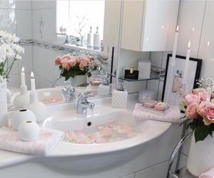 bathroom, fashion, and flowers image