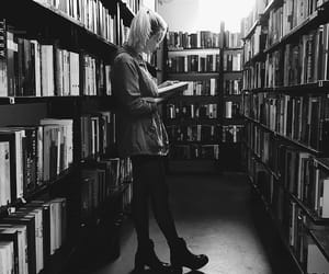 black and white, books, and girl image