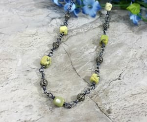 beaded necklace, yellow, and statement necklace image