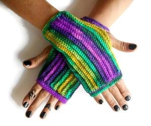 crochet, fingerless gloves, and knit image