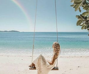 beach, rainbow, and summer image