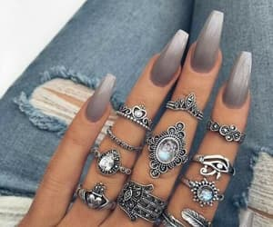 nails, rings, and grey image