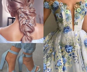 dress, hair, and light blue image