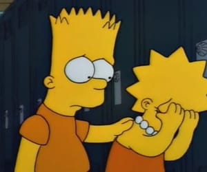 sad, bart, and lisa image