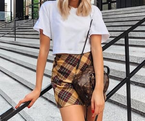white top, plaid skirt, and outfit inspiration image