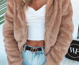 fashion, jeans, and fur jacket image