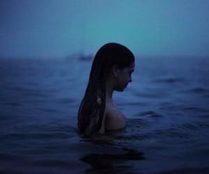girl, dark, and ocean image