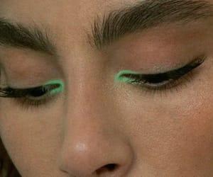 makeup, green, and eyes image