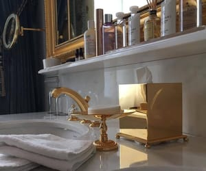 bathroom, gold, and home image