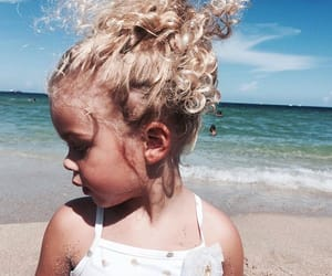 beach, kid model, and curly hair image