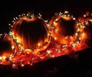 pumpkin, light, and autumn image