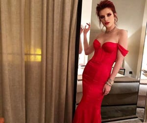 classy, red dress, and bella thorne image