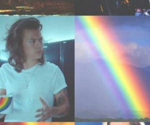 harrystyles, rainbow, and wallpaper image