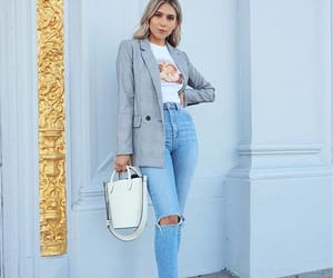 bag, blonde, and blue image