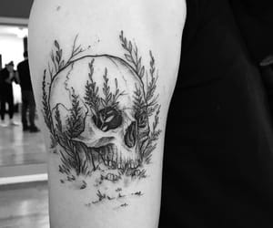 black and white, skull, and tattoo image